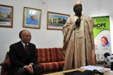 Chairman of the International Cancer Centre and FCT Minister, Aleiro Adamu, welcomes IAEA Director General Yukiya Amano to the centre. (Photo: A. Sotunde)