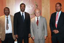 H.E. Mr. Dessie Dalkie, Minister of Science and Technology of Ethiopia (second from left), met IAEA DIrector General Yukiya Amano. He was accompanied by Mr. Solomon Getachew (far right), Science Advisor and National Liaison Officer to the IAEA, and Dr. Thomas Cherenet (far left), Director General of the STEP project and national counterpart, Vienna, Austria, 25 September 2012.
