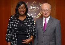 The new Resident Representative of Gabon, Marianne Odette Bibalou Bounda, presented her credentials to IAEA Director General Yukiya Amano in Vienna, Austria on 10 February 2016.