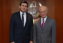 IAEA Director General Yukiya Amano met with Rashid Meredov, Deputy Chairman of the Cabinet of Ministers and  Minister of Foreign Affairs of Turkmenistan on 10 February 2016 at the IAEA headquarters in Vienna, Austria.