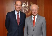 IAEA Director General Yukiya Amano met with Michele Valensise, Secretary General of the Ministry of Foreign of Affairs of Italy on 11 February 2016 at the IAEA headquarters in Vienna, Austria.