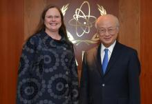 IAEA Director General Yukiya Amano met with Laura Holgate, Special Advisor to the President and Senior Director for WMD Terrorism and Threat Reduction at the U.S. National Security Council, and U.S. Nuclear Security Summit Sherpa, on 22 February 2016 at the IAEA headquarters in Vienna, Austria.