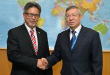 Dazhu Yang, IAEA Deputy Director General and Head of the Department of Technical Cooperation met with Carlos Alfredo Castaneda, Deputy Minister of Foreign Affairs, Integration and Economic Promotion of El Salvador on 15 March 2016 at the IAEA headquarters in Vienna, Austria.