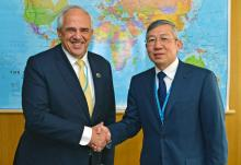 Dazhu Yang, IAEA Deputy Director General and Head of the Department of Technical Cooperation met with Ernesto Samper, Secretary-General of the Union of South American Nations (UNASUR), on 16 March 2016 at the IAEA headquarters in Vienna, Austria.
