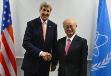 IAEA Director General Yukiya Amano meets with HE Mr John Kerry, Secretary of State of the United States of America at the IAEA headquarters in Vienna, Austria. 16 January 2016
