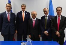 IAEA Director General Yukiya Amano meets with HE Mr John Kerry, Secretary of State of the United States of America at the IAEA headquarters in Vienna, Austria. 16 January 2016  Left to right: Cornel Feruta, IAEA Chief Coordinator, John Kerry, Yukiya Amano, Tero Varjoranta, IAEA Deputy Director General and Head of the Department of Safeguards and Derek Lacey, Special Assistant to the Director General for Nuclear Safety, Security and Safeguards.