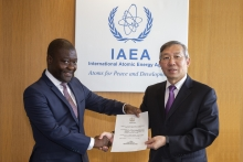 The new Resident Representative of Lesotho to the IAEA, Retselisitsoe Calvin Masenyetse, presented his credentials to the IAEA Acting Director General Dazhu Yang (who is the Deputy Director General of the IAEA Department of Technical Cooperation) on 15 August at the IAEA headquarters in Vienna.