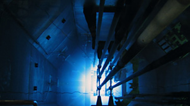 Looking down a research reactor core