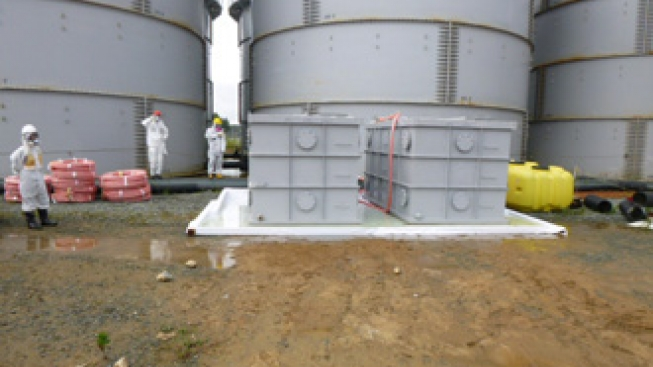 Water overflow from a tank at Fukushima Daiichi Nuclear Power Station