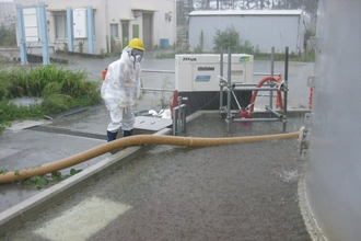 Water inside the dike in a tank area at Fukushima Daiichi Nuclear Power Station