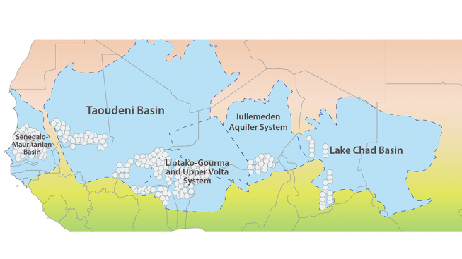 The five aquifers/basins studied, shared by the 13 participating countries.