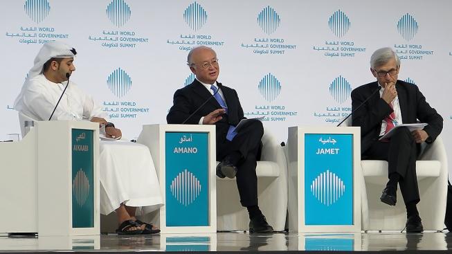 IAEA Director General Amano talks at the World Government Summit in Dubai, United Arab Emirates (UAE), 14 February 2017