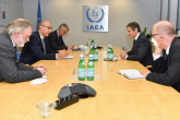 Rafael Mariano Grossi, IAEA Director General, met with the E3 Political Directors from France, UK and Germany during their official visit at the Agency headquarters in Vienna, Austria. 12 May 2021. The DG is joined by his senior staff, Mark Bassett, Special Assistant to the DG for Nuclear Safety and Security and Safeguards.  From France, Mr. Philippe Errera and Ms. Delphine Hourneau-Pouezat, Head of Disarmament and Non-Proliferation Unit, Foreign Affairs, and HE Mr Xavier Sticker, Resident Representative of France to the IAEA, from the United Kingdom, Sir Tim Barrow and Ms. Emma Nottingham, Joint Head of State Programmes Team and HE Ms. Corinne Kitsell, Resident Representative of the United Kingdom to the IAEA, and from Germany, HE Mr Gerhard Küntzle, Resident Representative of Germany to the IAEA and Ms. Katharina Lack, Head of IAEA and Nuclear Non-Proliferation Unit, Federal Foreign Office.