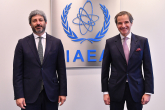 Rafael Mariano Grossi, IAEA Director General, met with HE Mr. Roberto Fico, President of the Chamber of Deputies of Italy during his official visit at the Agency headquarters in Vienna, Austria. 17 May 2021.