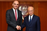 IAEA Director General Yukiya Amano met with H.E. Mr. Alain Berset, President of the Swiss Confederation, at the IAEA headquarters in Vienna, Austria on 8 January 2018.