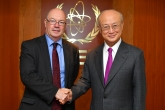 IAEA Director General Yukiya Amano met with Rt Hon. Alistair Burt, Minister of State for the Middle East at the Foreign and Commonwealth Office and Minister of State at the Department for International Development during his official visit to the IAEA Headquarters in Vienna, Austria. 6 July 2018.