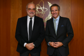 Rafael Mariano Grossi, IAEA Director General, met with Josep Maria Serena i Sender, Spanish Nuclear Safety Council during his official visit to the Agency headquarters in Vienna, Austria. 16 October 2020