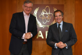Rafael Mariano Grossi, IAEA Director General, meets with Boris Schucht, Chief Executive Officer, URENCO, during his official visit in the Swedish Room at the Agency headquarters in Vienna, Austria. 10 June 2021
