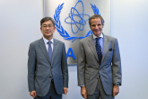 Rafael Mariano Grossi, IAEA Director-General, met with HAM Sang Wook, Deputy Minister for Multilateral and Global Affairs of the Ministry of Foreign Affairs of the Republic of Korea, during his official visit at the Agency headquarters in Vienna, Austria. 15 October 2021.