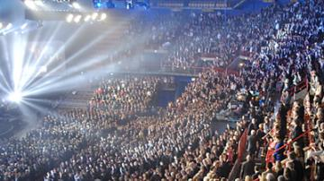 The Oslo Spektrum is fully packed for the Nobel Peace  Prize concert.