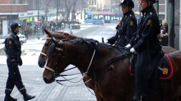 Police outside Oslo City Hall where the Nobel Peace Ceremony is held.