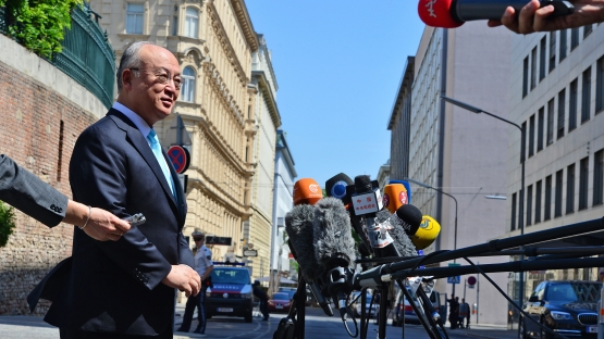 IAEA Director General Yukiya Amano addresses journalists before a meeting at the Coburg Palace in Vienna, where the P5+1 - Iran talks are taking place.