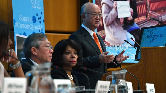 IAEA Director General delivering his opening remarks at the World Cancer Day event held at the Vienna International Centre (VIC) in Vienna, Austria, 3 February 2017.