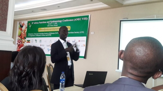 The IAEA's Victor Owino presented at the 8th Africa Nutritional Epidemiology Conference in Addis Ababa, Ethiopia.
