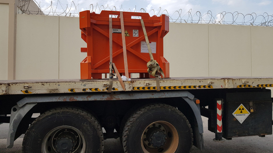 A disused sealed radioactive source loaded safely and securely for international transport