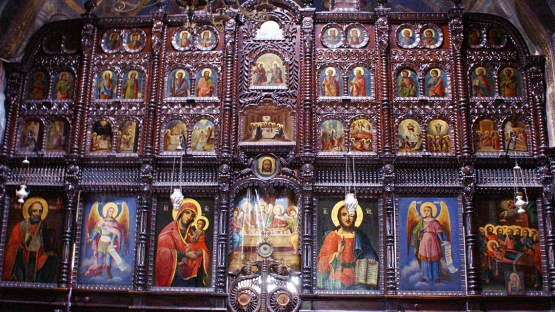 iconostasis in the 19th century Holy Voivode of Michael and Gabriel Church in Izvoarele village, Romania