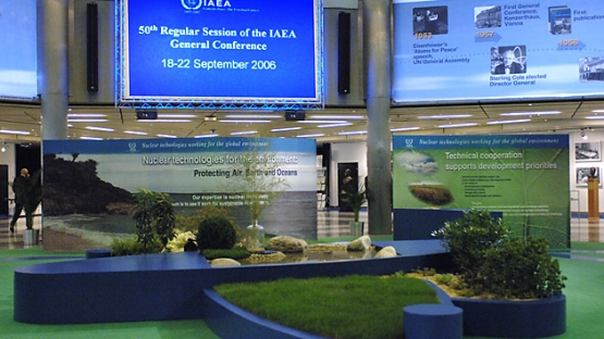 The exhibit on nuclear and the environment dominates the lobby of the Austria Center where the IAEA's 50th IAEA General Conference is taking place from 18-22 September 2006. (Austria Center, Vienna, Austria, 18 September 2006)