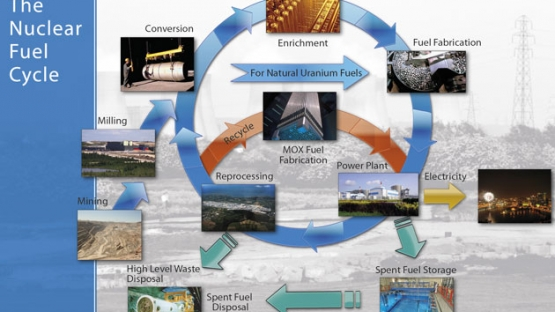 <p>The raw material for today's nuclear fuel is uranium. It must be processed through a series of steps to produce an efficient fuel for generating electricity. Used fuel also needs to be taken care of for reuse and disposal.</p><p>The nuclear fuel cycle includes the 'front end', i.e. preparation of the fuel, the 'service period' in which fuel is used during reactor operation to generate electricity, and the 'back end', i.e. the safe management of spent nuclear fuel including reprocessing and reuse and disposal.</p><p>If spent fuel is not reprocessed, the fuel cycle is referred to as an 'open' or a 'once-through' fuel cycle; if spent fuel is reprocessed, and partly reused, it is referred to as a 'closed' fuel cycle.</p> © A. Diesner-Kuepfer / IAEA