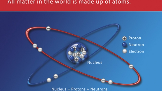 <p>Each atom contains a tiny central positively charged nucleus and a number of electrons. The electrons carry negative electric charge and move around the nucleus in shells with loosely defined boundaries.</p><p>The nucleus of the atom contains protons, which carry a positive charge equal to the electron's negative charge, and neutrons, which carry no charge at all.</p><p>Atoms normally contain equal numbers of protons and electrons and are therefore electrically neutral.</p><p>The illustration shows the oxygen atom planetary model with a nucleus of 8 protons, 8 neutrons and 8 orbital electrons.</p>© IAEA