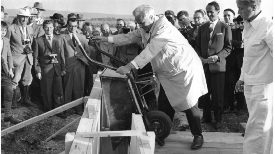 Construction of the first IAEA laboratory in Seibersdorf was inaugurated by the first Director General, William Sterling Cole, in 1959. The laboratory came into operation 3 years later.
