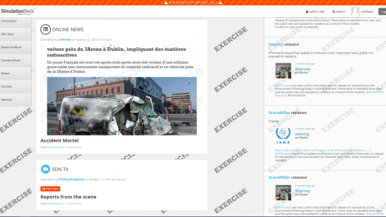 Screenshot of the social media simulator adapted for nuclear emergency response by the IAEA