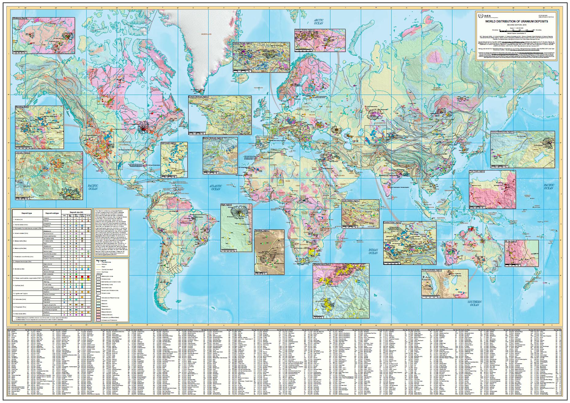МАГАТЭ публикует уникальную карту мировых запасов урана